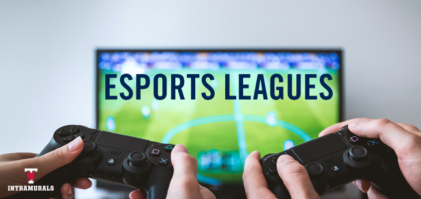 two people holding video game controllers with overlaid text: esports leagues