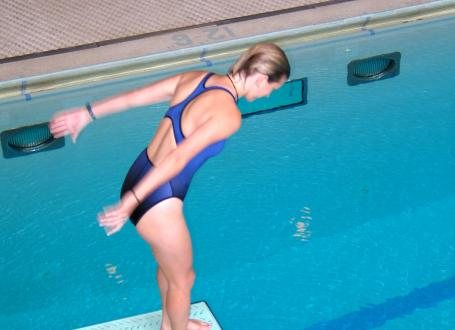 woman about to dive