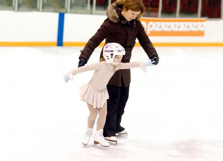 Mom and Daughter learning to skate together