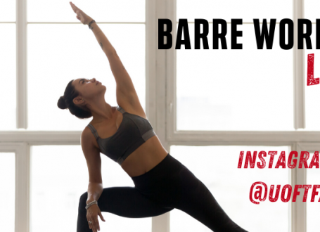 photo of woman stretching with 'Barre Workout Live' text overlaid